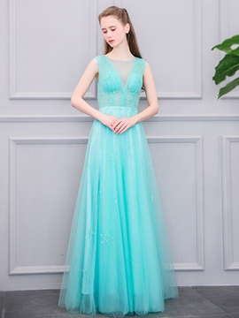 Ericdress A-Line Scoop Beading Floor-Length Evening Dress