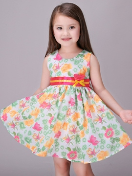 Ericdress Floral Printed Lace-Up Girls Dresses