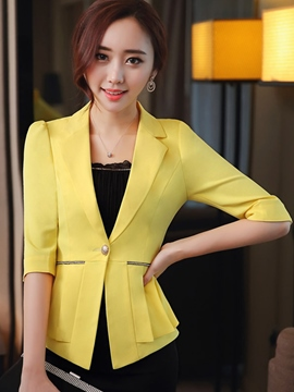 Ericdress Solid Color Pleated Slim Blazer