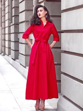 Ericdress solide couleur revers lacets robe Maxi