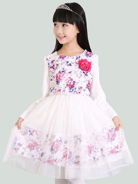 Ericdress Floral Lace Mesh Girls Dress