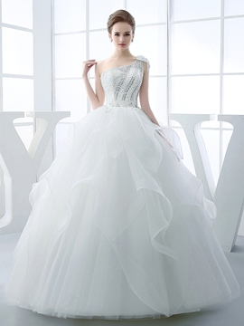 Ericdress Gorgeous Beaded One Shoulder Ball Gown Wedding Dress