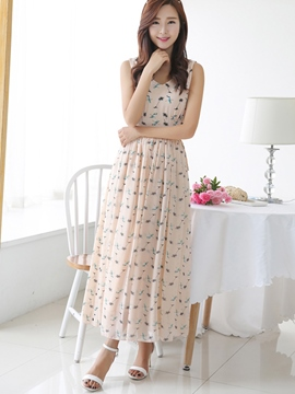 Ericdress Summer Sleeveless Ankle-Lenght Print Maxi Dress