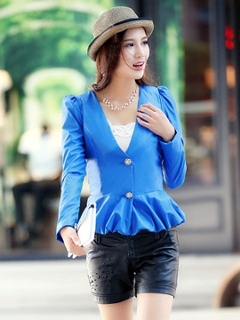 Ericdress Solid Color Slim Pleated PU Blazer