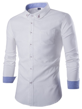 Ericdress Plain Simple Slim Button Down Men's Shirt