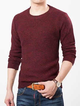 Ericdress Plain Round Neck Slim Men's Sweater