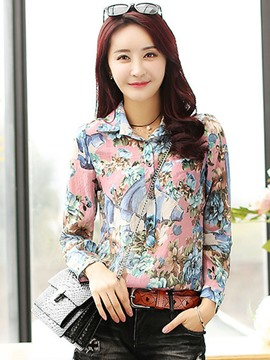 Ericdress Printed Lapel Blouse
