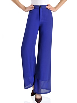 Ericdress Solid Color Flared Wide Legs Pants