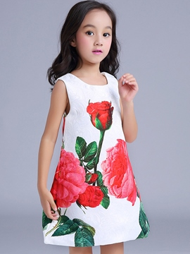 Ericdress Floral Printed Patchwork Sleeveless Girls Dress