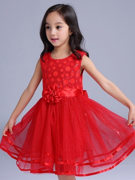 Ericdress Mesh Appliques Lace-Up Girls Dress