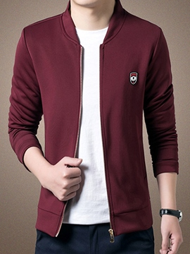 Ericdress Small Logo Zip Stand Collar Slim Men's Jacket