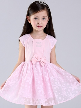 Ericdress Floral Bowknot Girls Dress