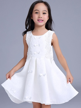 Ericdress Appliques Bow Pleated Girls Dress