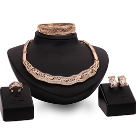 Ericdress Gold Four Pieces Hollow-Out Jewelry Set