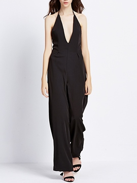 Ericdress Loose Deep V-Neck Jumpsuits Pants