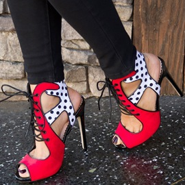 Ericdress Lace-Up Polka Dots Stiletto Sandals