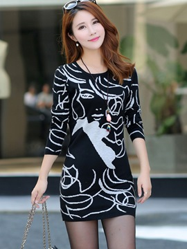 Ericdress Print Long Sleeve Sweater Dress
