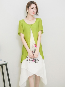 Ericdress Summer Ethic Double-Layer Casual Dress