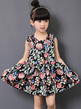 Ericdress Floral Printed Pleated Sleeveless Girls Dresses