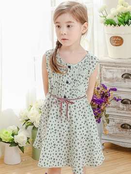 Ericdress Button Floral Pleated Belt-Tied Girls Dresses