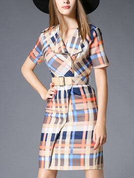 Ericdress Plaid Belt Oblique Zipper Bodycon Dress