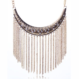 Ericdress Metal Tassel Diamante Necklace