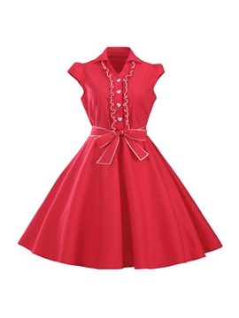 Ericdress Solid Color Bowknot Single-Breasted A Line Dress