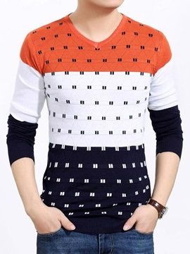 Ericdress Polka Dots V-Neck Men's Sweater