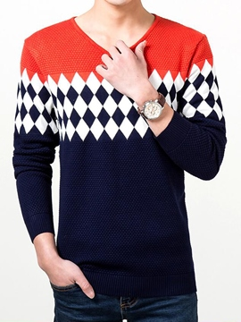 Ericdress Color Block Pattern Pullover Vogue Men's weater