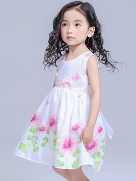 Ericdress Chiffon Print Bow Tie Girls Dresses