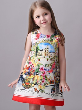 Ericdress Print Zipper Sleeveless Girls Dresses