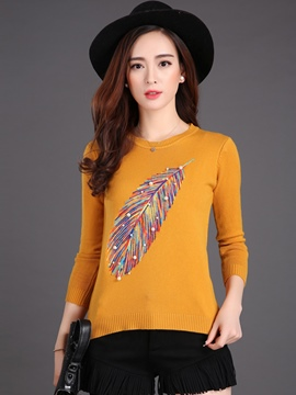 Ericdress Feather Print Casual Knitwear