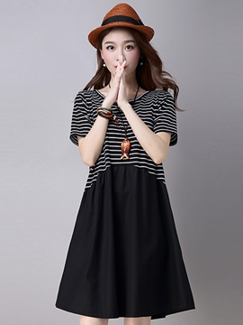 Ericdress Stripe Patchwork Casual Dress