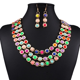Ericdress Multilayer Alloy Gemstones Jewelry Set