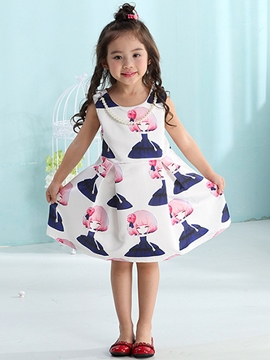 Ericdress Print Necklace Pleated Girls Dress