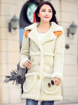 Ericdress Loose Patchwork Casual Coat