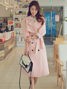 Ericdress Slim Lace-Up Trench Coat
