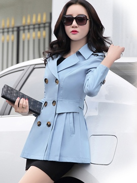 Ericdress Slim Solid Color Double-Breasted Trench Coat