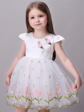 Ericdress Embroidery Princess Floral Pleated Girls Dress