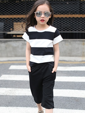 Ericdress Stripe Girls Outfit