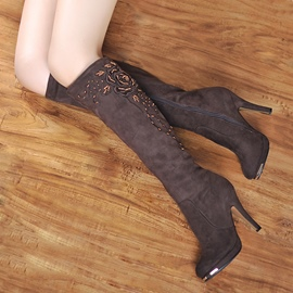 Ericdress Elegant Suede Beads Knee High Boots