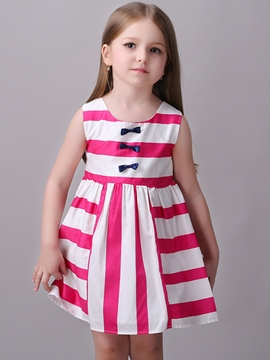 Ericdress Strips Patchwork Bowknot Pleated Girls Dresses