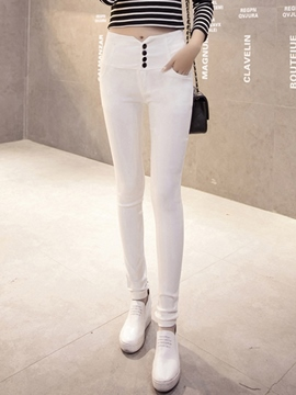 Ericdress Solid Color Button Decoration Leggings Pants