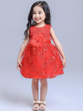 Ericdress Lace Patchwork Floral Sleeveless Girls Dresses