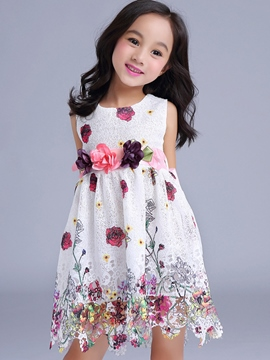 Ericdress Floral Appliques Patchwork Tie Girls Dress