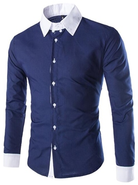 Ericdress Color Block Simple Patchwork Casual Men's Shirt