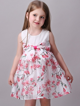 Ericdress Floral Pleated Bowknot Girls Dresses