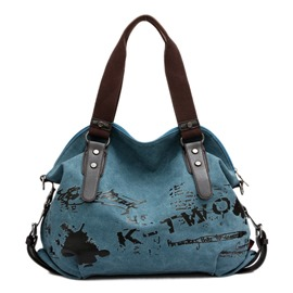 Ericdress Vintage Graffiti Canvas Tote Bag