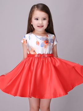 Ericdress Print Color Block Tie Girls Dresses
