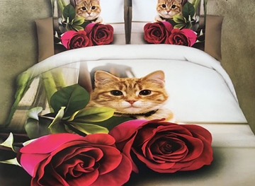 Ericdress Rose And Cat Print 3D Bedding Sets